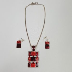 Jewelry - Necklace/Earrings Set Red